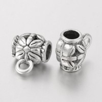 11x7mm Puffy Floral Bails, Antique Silver, Pack of 10