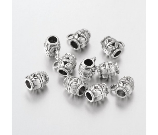 11x7mm Puffy Floral Bails, Antique Silver