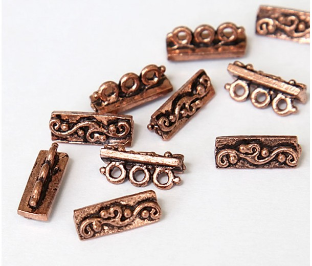 14x5mm Swirl Spacer Bar, Antique Copper, Pack of 3
