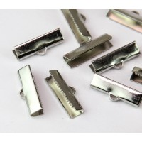 20x4mm Smooth Ribbon Ends, Platinum Tone, Pack of 10