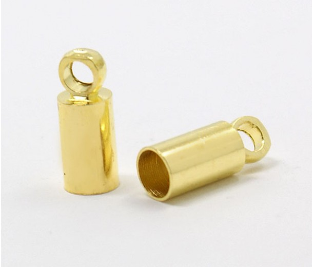 9x3mm Cord Ends for 2.5mm Cord, Gold Tone