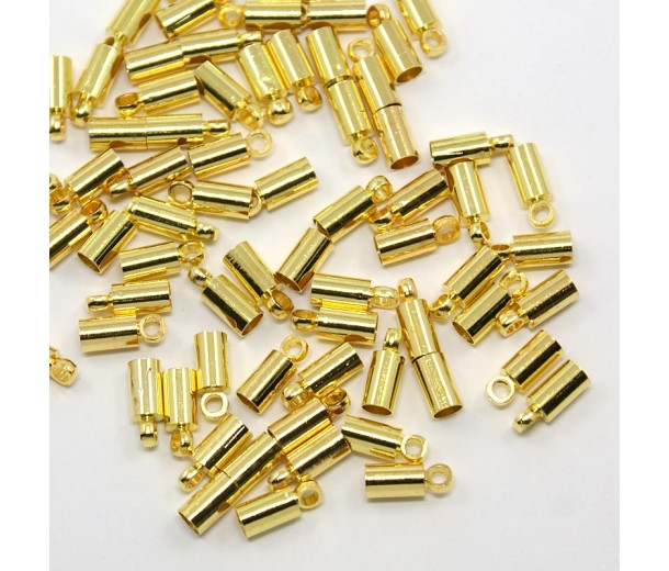 9x3mm Cord Ends for 2.5mm Cord, Gold Tone, Pack of 50