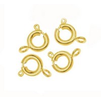 6mm Spring Ring Clasps, Gold Tone, Pack of 25