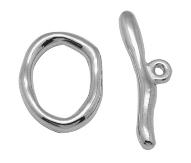 16x20mm Donut Toggle Clasp, Antique Silver, 1 Set