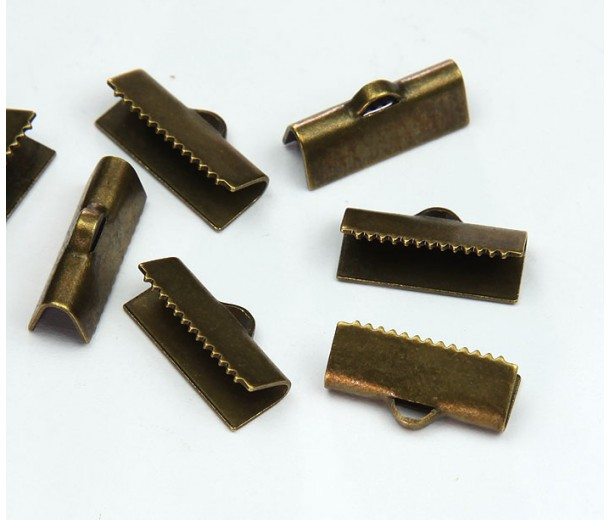 15x5mm Smooth Ribbon Ends, Antique Brass