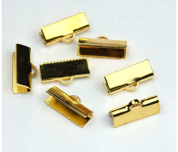 15x5mm Smooth Ribbon Ends, Gold Tone