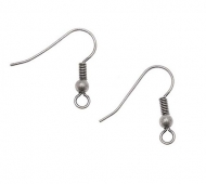 20mm Hook Ear Wires with Ball and Coil, Antique Silver