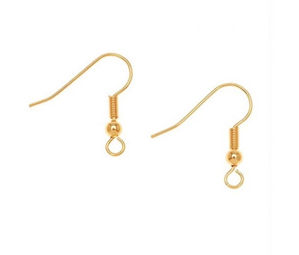 20mm Hook Ear Wires with Ball and Coil, Gold Plated, Pack of 20