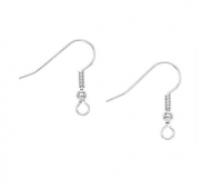 20mm Hook Ear Wires with Ball and Coil, Silver Plated