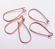 40mm Kidney Ear Wires, Antique Copper