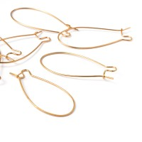 40mm Kidney Ear Wires, Gold Plated, Pack of 20