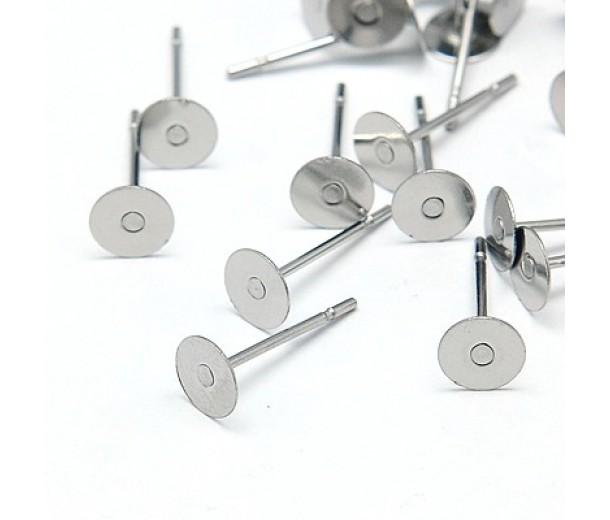 6mm Stainless Steel Earstud Blanks, Pack of 50
