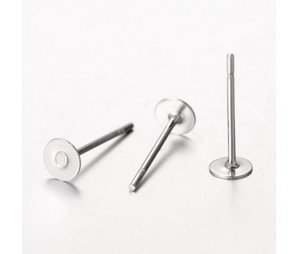 4mm Stainless Steel Earstud Blanks, Pack of 50
