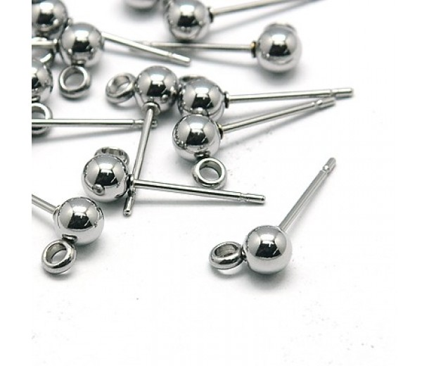 15x4mm Stainless Steel Earstud Balls with Loop, Pack of 10
