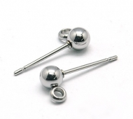 15x4mm Stainless Steel Earstud Ball with Loop