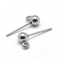 15x4mm Stainless Steel Earstud Ball with Loop