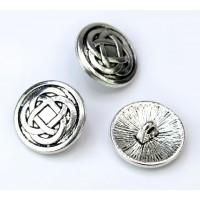 17mm Celtic Knot Metal Shank Button, Antique Silver, 1 Piece