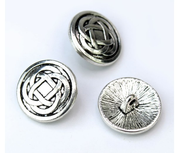 17mm Celtic Knot Metal Shank Button, Antique Silver, 1 Piece