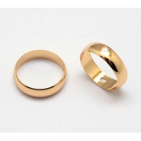 8mm Bead Frame Rings With 2 Holes, Fit 6mm Beads, Gold Tone