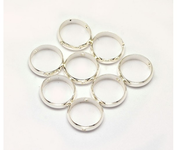 10mm Bead Frame Rings With 2 Holes, Fit 8mm Beads, Silver Tone, Pack of 10