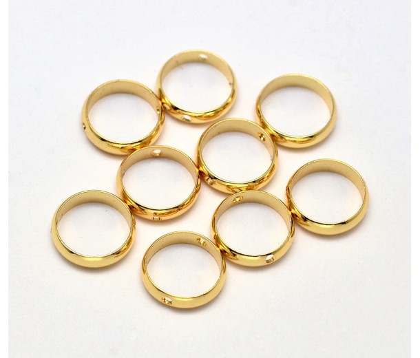 10mm Bead Frame Rings With 2 Holes, Fit 8mm Beads, Gold Tone, Pack of 10
