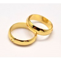 10mm Bead Frame Rings With 2 Holes, Fit 8mm Beads, Gold Tone