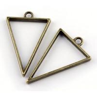 40mm Open Bezel Frame Triangular Pendant, Antique Brass