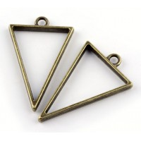 40mm Open Bezel Frame Triangular Pendant, Antique Brass