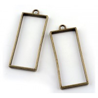 50mm Open Bezel Frame Rectangular Pendant, Antique Brass