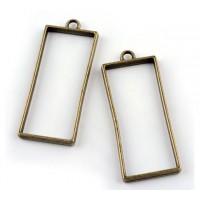 50mm Open Bezel Frame Rectangular Pendant, Antique Brass