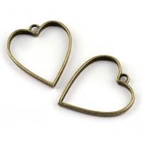 35mm Open Bezel Frame Heart Pendant, Antique Brass