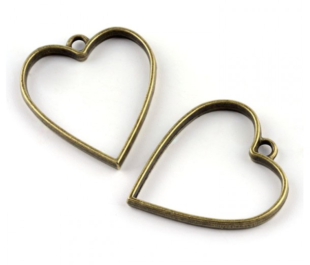 35mm Open Bezel Frame Heart Pendant, Antique Brass
