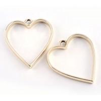 35mm Open Bezel Frame Heart Pendant, Gold Tone
