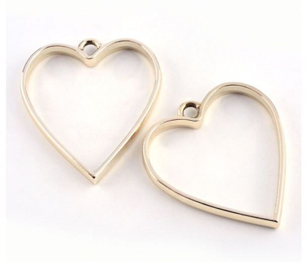 35mm Open Bezel Frame Heart Pendant, Gold Tone