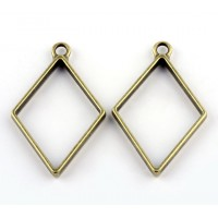 40mm Open Bezel Frame Diamond Pendant, Antique Brass