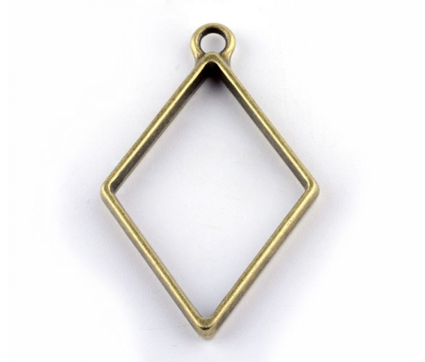 40mm Open Bezel Frame Diamond Pendant, Antique Brass