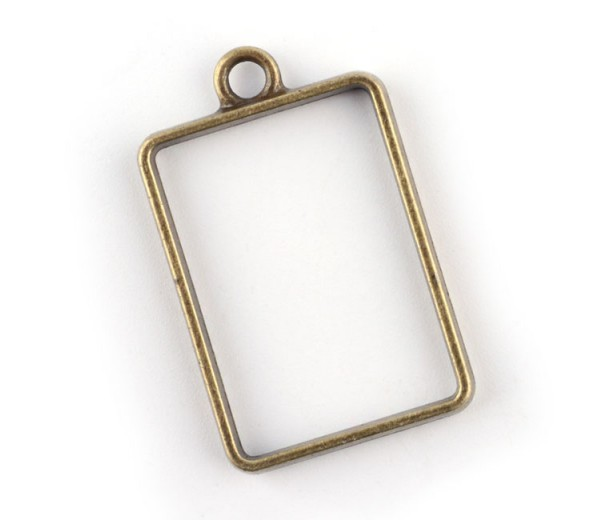 33mm Open Bezel Frame Rectangular Pendant, Antique Brass