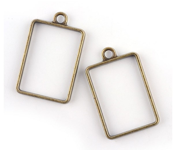 33mm Open Bezel Frame Rectangular Pendant, Antique Brass