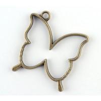 35mm Open Bezel Frame Butterfly Pendant, Antique Brass