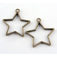 35mm Open Bezel Frame Star Pendant, Antique Brass