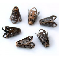16x10mm Filigree Cone Bead Caps, Antique Copper, Pack of 20