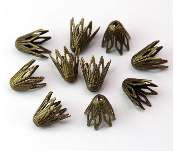 9mm Filigree Mini Cone Bead Caps, Antique Brass