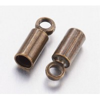 9x3mm Cord Ends for 2.5mm Cord, Antique Brass