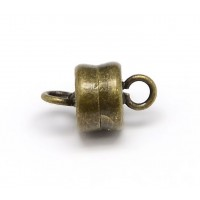 6x10mm Barrel Magnetic Clasps, Antique Brass, Pack of 5