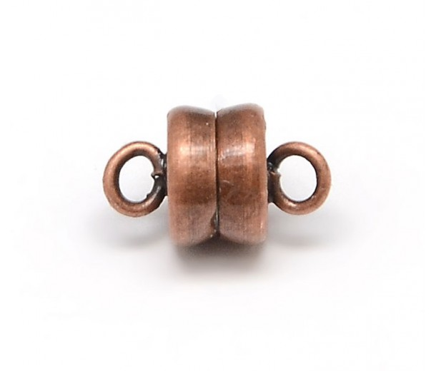 6x10mm Barrel Magnetic Clasps, Antique Copper, Pack of 5