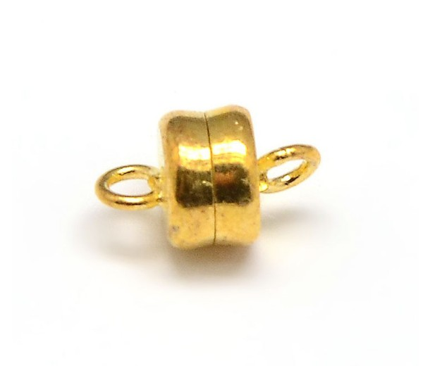 6x10mm Barrel Magnetic Clasps, Gold Tone, Pack of 5