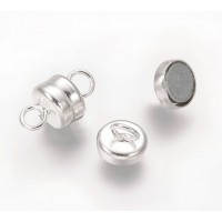 6x10mm Barrel Magnetic Clasps, Silver Tone, Pack of 5