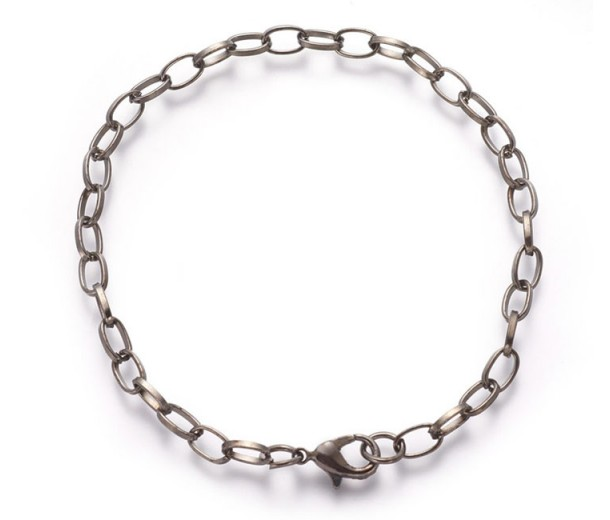 8 inch Cable Chain Bracelet, Gunmetal