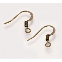 16mm Flat Hook Ear Wires, Antique Brass