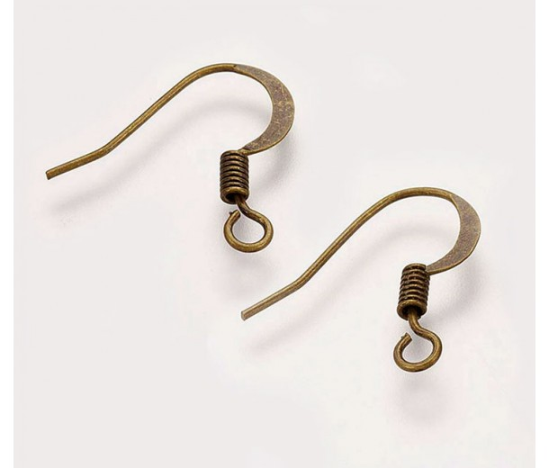 16mm Flat Hook Ear Wires, Antique Brass, Pack of 50